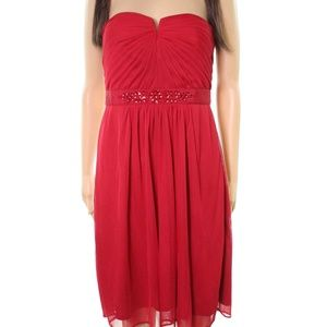 Adrianna Papell embellished strapless cherry dress